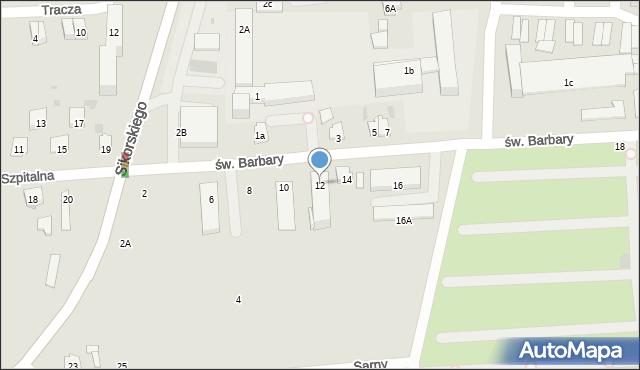 Tarnobrzeg, św. Barbary, 12, mapa Tarnobrzegu
