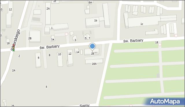 Tarnobrzeg, św. Barbary, 16, mapa Tarnobrzegu