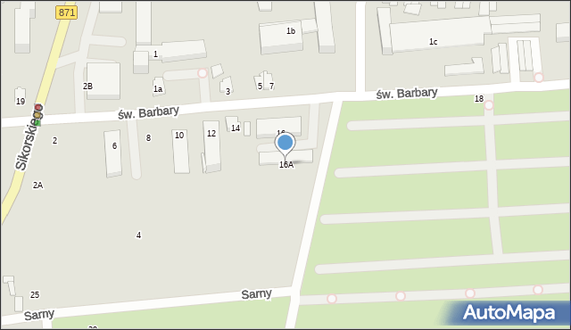 Tarnobrzeg, św. Barbary, 16A, mapa Tarnobrzegu