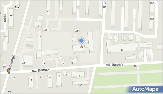 Tarnobrzeg, św. Barbary, 1b, mapa Tarnobrzegu