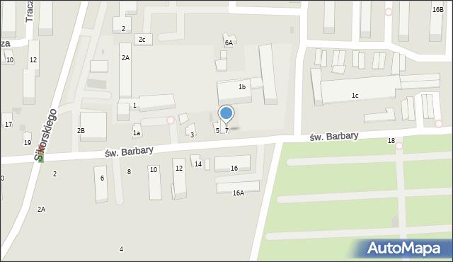 Tarnobrzeg, św. Barbary, 7, mapa Tarnobrzegu