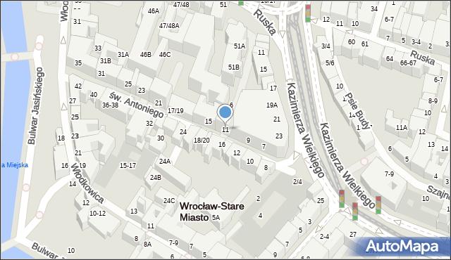 Wrocław, św. Antoniego, 11, mapa Wrocławia