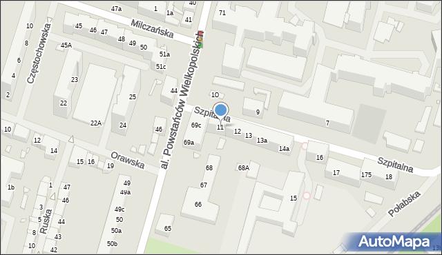 Szczecin, Szpitalna, 11, mapa Szczecina