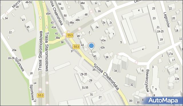 Toruń, Szosa Chełmińska, 42, mapa Torunia