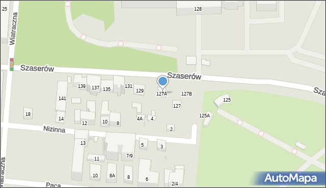 Warszawa, Szaserów, 127A, mapa Warszawy