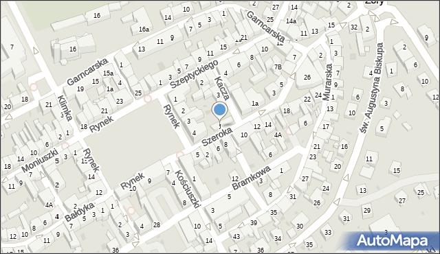 Żory, Szeroka, 1, mapa Żor