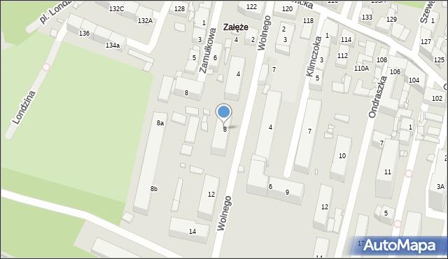 Katowice, Wolnego Józefa, 8, mapa Katowic