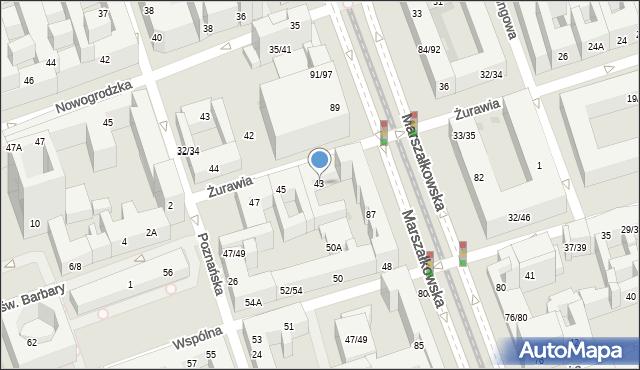 Warszawa, Żurawia, 43, mapa Warszawy