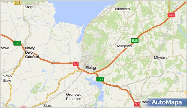 gmina Elbląg - powiat Elbląg na mapie Targeo