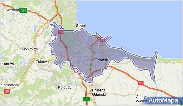 gmina Gdańsk - powiat Gdańsk na mapie Targeo
