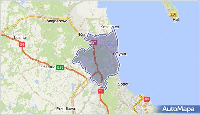 gmina Gdynia - powiat Gdynia na mapie Targeo