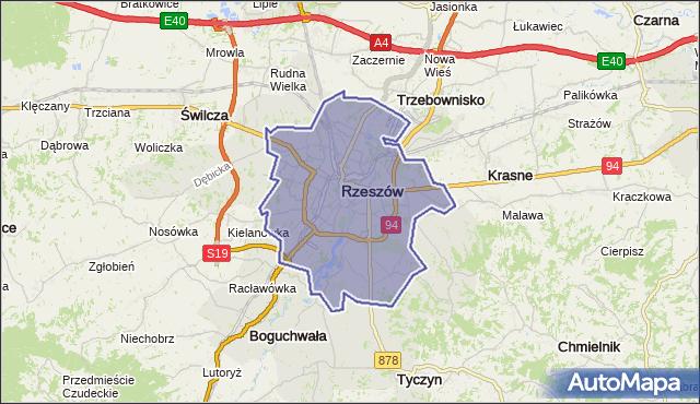 gmina Rzeszów - powiat Rzeszów na mapie Targeo