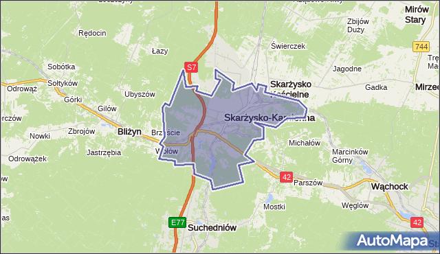 gmina Skarżysko-Kamienna - powiat skarżyski na mapie Targeo