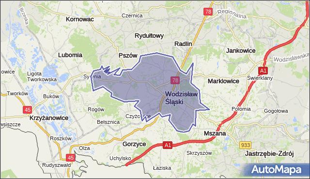 gmina Wodzisław Śląski - powiat wodzisławski na mapie Targeo