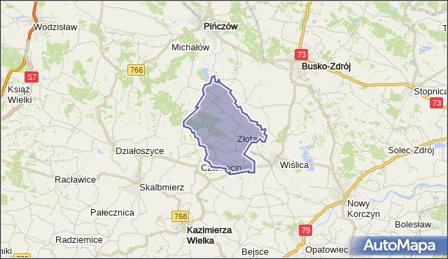 gmina Złota - powiat pińczowski na mapie Targeo