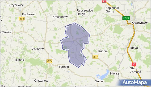 gmina Żółkiewka - powiat krasnostawski na mapie Targeo