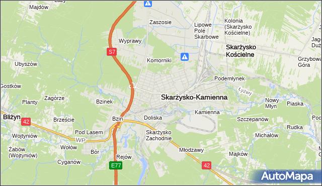 mapa Skarżysko-Kamienna, Skarżysko-Kamienna na mapie Targeo