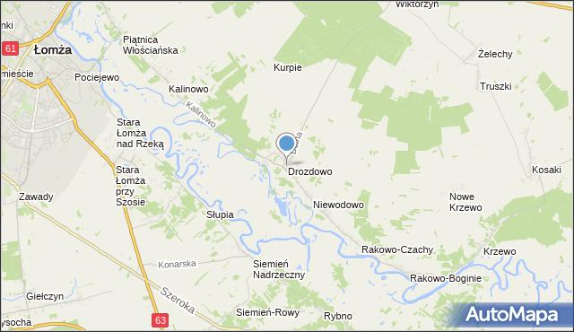 mapa Drozdowo, Drozdowo gmina Piątnica na mapie Targeo