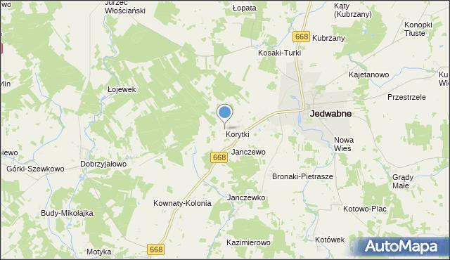 mapa Korytki, Korytki gmina Jedwabne na mapie Targeo