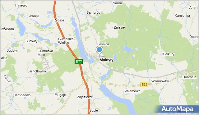 mapa Małdyty, Małdyty na mapie Targeo