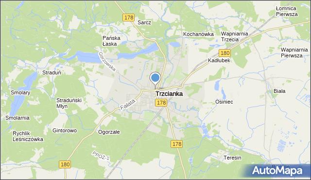 mapa Trzcianka, Trzcianka powiat czarnkowsko-trzcianecki na mapie Targeo