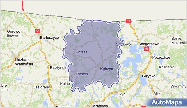 powiat kętrzyński - województwo warmińsko-mazurskie na mapie Targeo