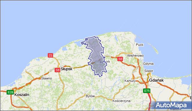 powiat lęborski - województwo pomorskie na mapie Targeo