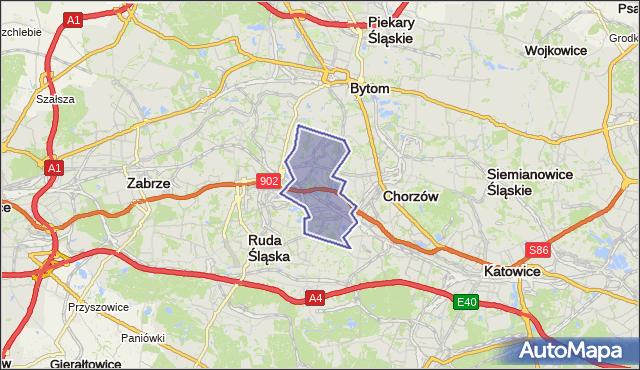 powiat Świętochłowice - województwo śląskie na mapie Targeo