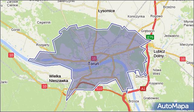 powiat Toruń - województwo kujawsko-pomorskie na mapie Targeo