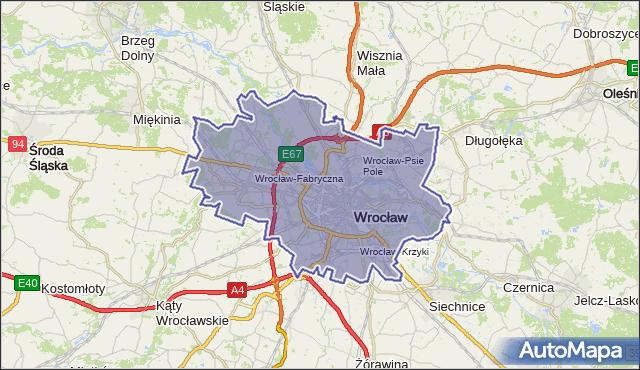 powiat Wrocław - województwo dolnośląskie na mapie Targeo
