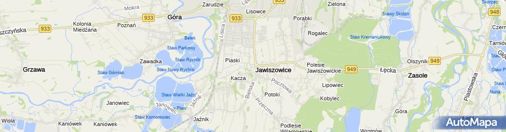 Zdjęcie satelitarne Biblioteka Publiczna w Jawiszowicach