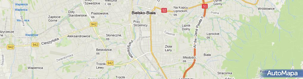 Zdjęcie satelitarne Novamed Bielsko Szymala Bogdan Niepubliczny Zakład Opieki Zdrowotnej Eurofemina Szymala Bogdan