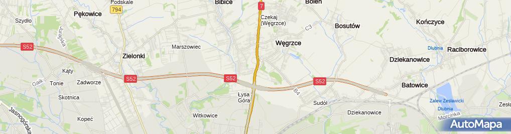 Zdjęcie satelitarne Starostwo Powiatowe w Krakowie filia w Węgrzcach