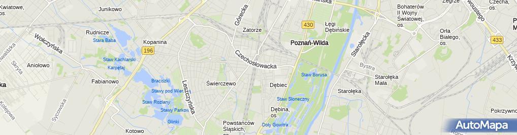 Zdjęcie satelitarne Poznan Debiec k. sw. Trojcy