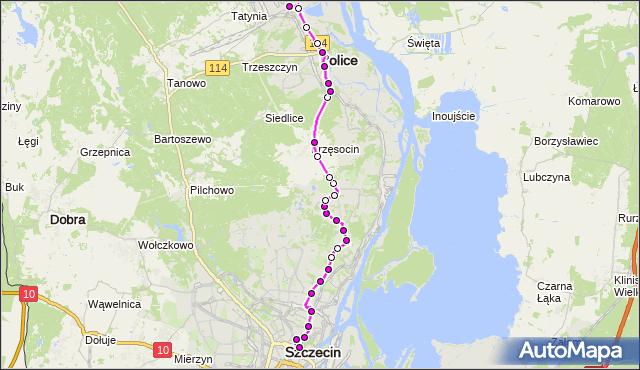 Mapa Polski Targeo, Autobus 101 - trasa Plac Rodła - Police Zakłady Chemiczne. ZDiTM Szczecin na mapie Targeo