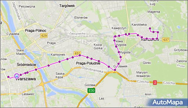 Rozkład jazdy autobusu N24 na przystanku CENTRUM 05. ZTM Warszawa na mapie Targeo