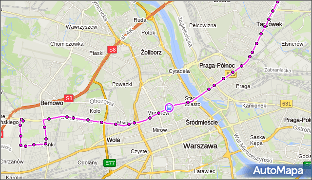 Rozkład jazdy autobusu 190 na przystanku METRO RATUSZ ARSENAŁ 10. ZTM Warszawa na mapie Targeo