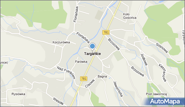 Targanice, , mapa Targanice