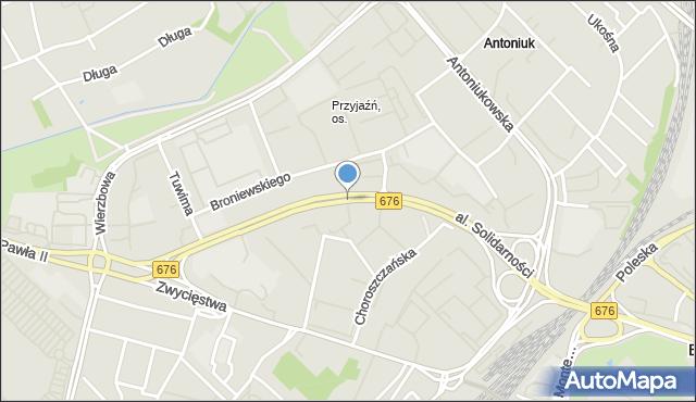 Białystok, Aleja Solidarności, mapa Białegostoku