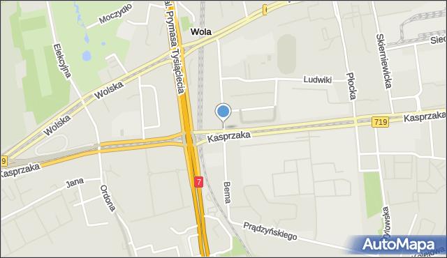 Warszawa, Bema Józefa, gen., mapa Warszawy