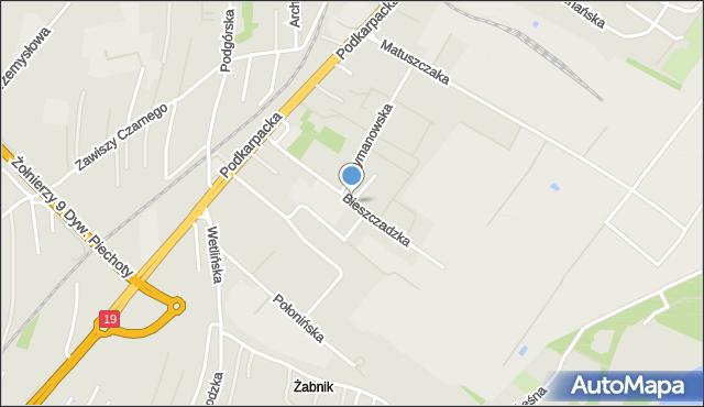 Rzeszów, Bieszczadzka, mapa Rzeszów