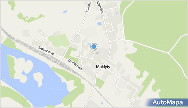 Małdyty, Brzozowa, mapa Małdyty