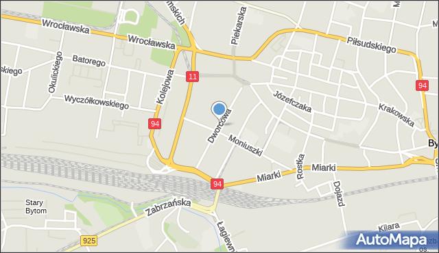 Bytom, Dworcowa, mapa Bytomia