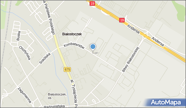 Białystok, Kombatantów, mapa Białegostoku