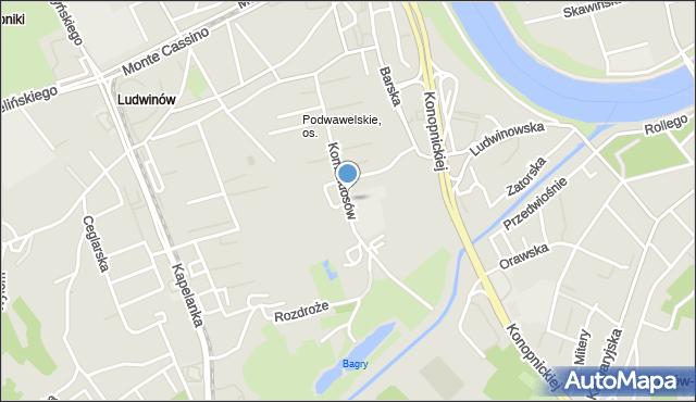 Kraków, Komandosów, mapa Krakowa