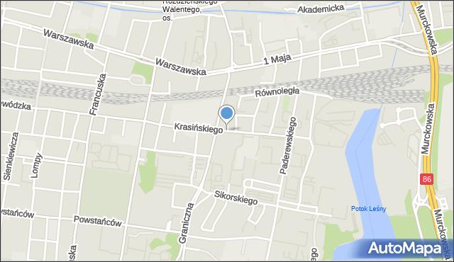 Katowice, Krasińskiego Zygmunta, mapa Katowic
