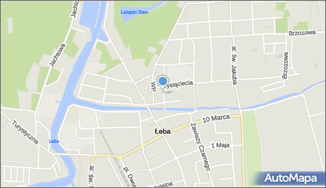 Łeba, Krótka, mapa Łeba