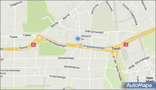 Toruń, Kraszewskiego Józefa Ignacego, mapa Torunia