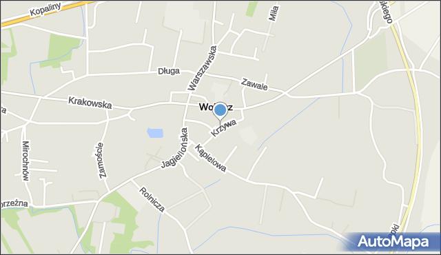 Wojnicz, Krzywa, mapa Wojnicz