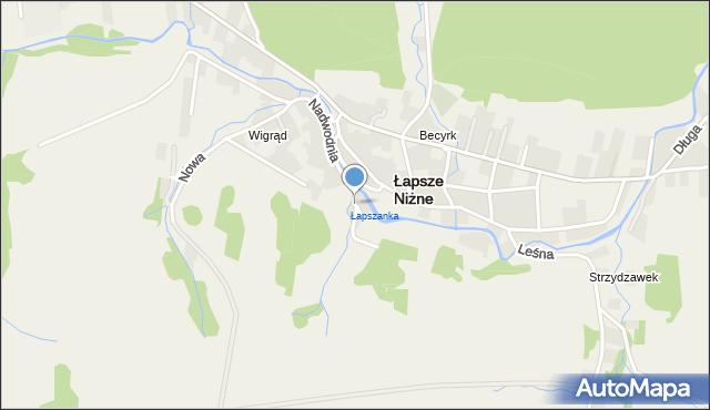 Łapsze Niżne, Ogrodowa, mapa Łapsze Niżne